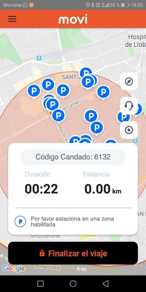 Finaliza el viaje en la aplicación
